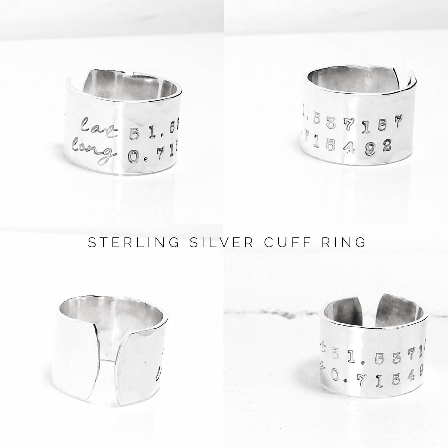 Personalised Cuff Ring  Sterling Silver Ring Ring  Personalized Jewelry  Inspirational Ring  Name Ring  Custom Ring by Glam and Co