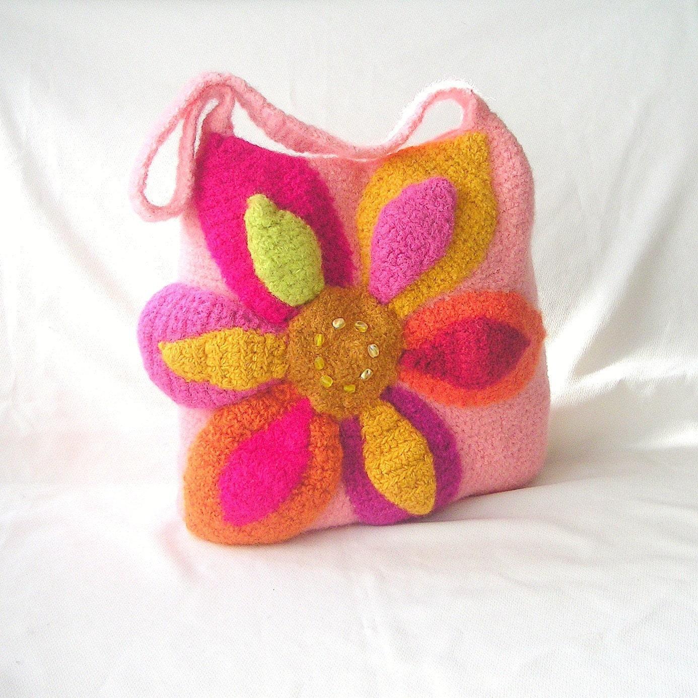 Crochet Bag Felt Pattern : Hello Sunshine Felted Flower Bag Crochet by ...