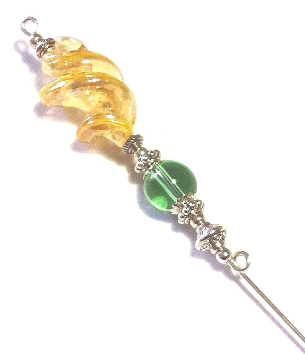 Yellow  Green Glass Bead Hat Pin Vintage Antique Silver Style  With End Protector 513