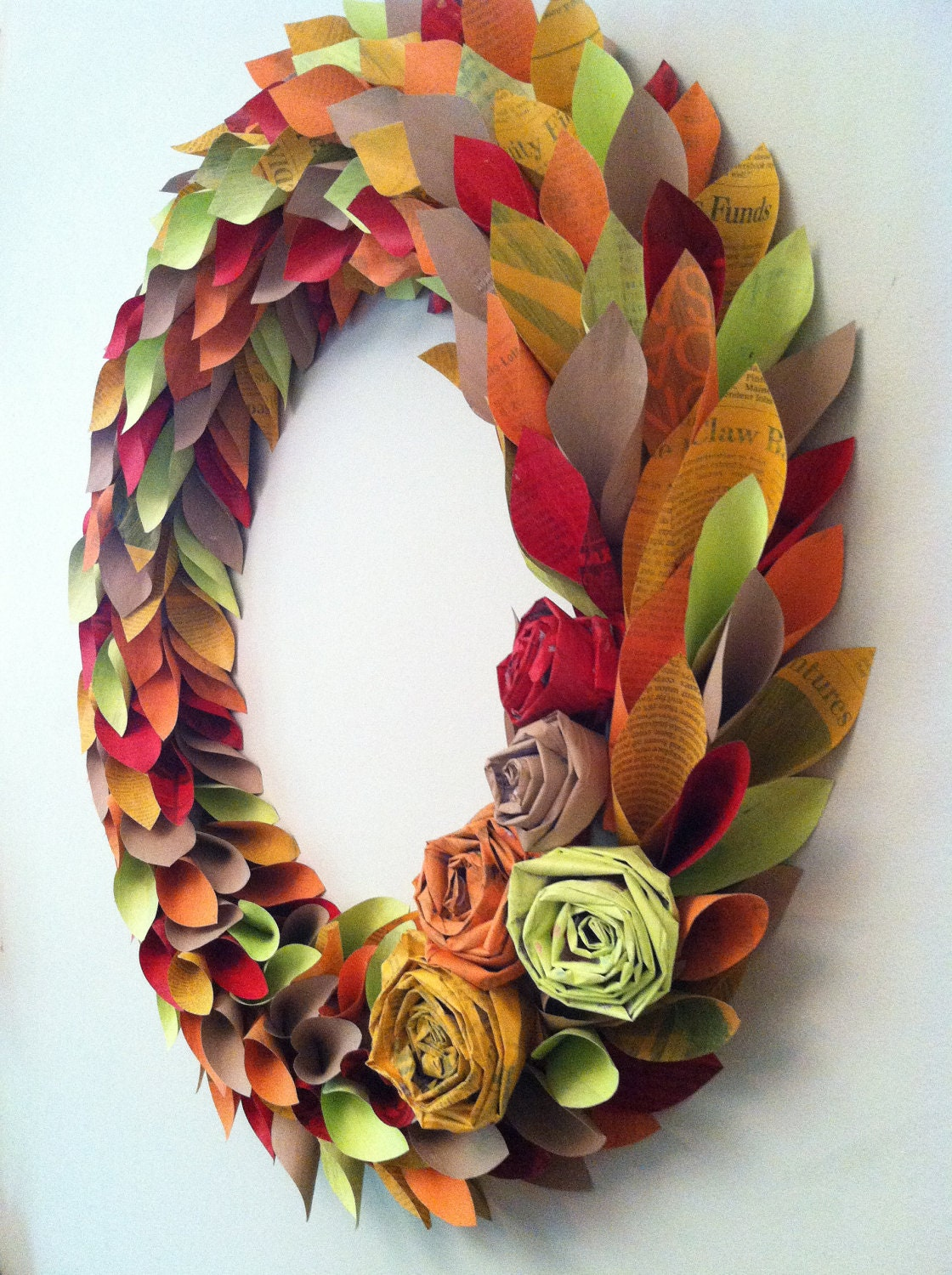 fall wreath paper - fall colors - large 22 inch newspaper rosette and leaf - weirdlittleworld