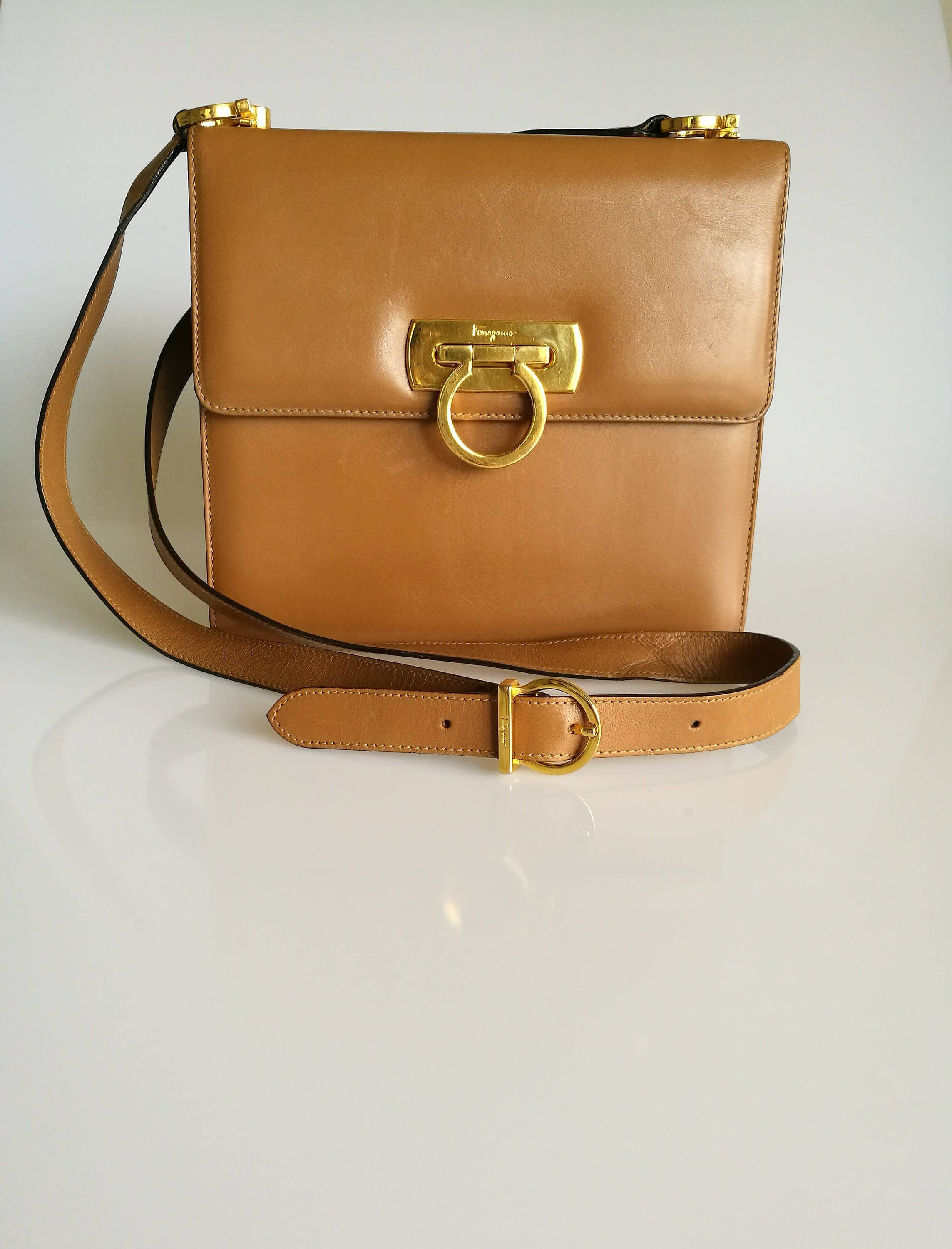 Salvatore Ferragamo Vintage Gancini Mini Shoulder Messenger Leather Bag Brown  Tan Colour