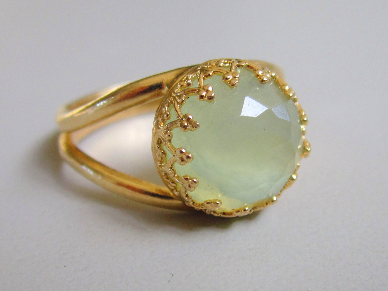 Jade Ring Vintage Ring Gold Ring Green Mint By EldorTinaJewelry