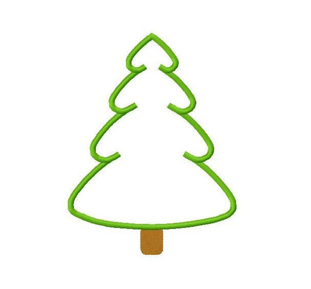 Tree Embroidery Applique Designs Christmas Tree Applique Design Pine Tree Applique 4x4, 5x7, 6x10 hoop sizes Instant Download - jayniejayedesigns