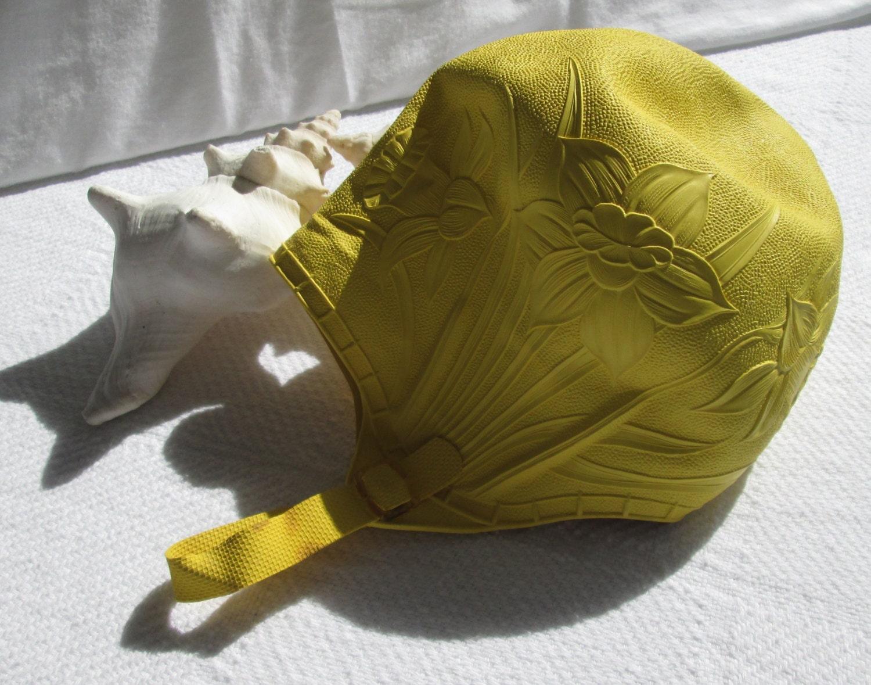 Vintage Bathing Cap Yellow Rubber Swim Cap By Weelambievintage
