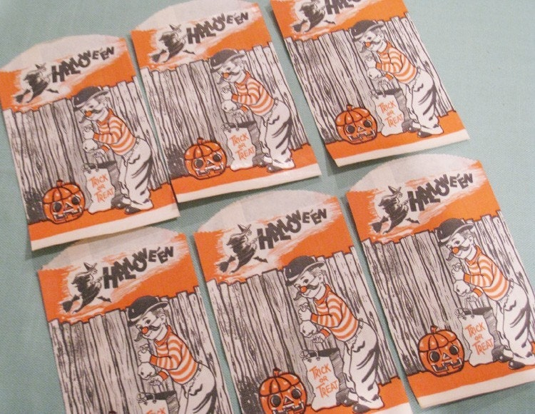 Vintage halloween candy treat bags set of 6 little boy in costume