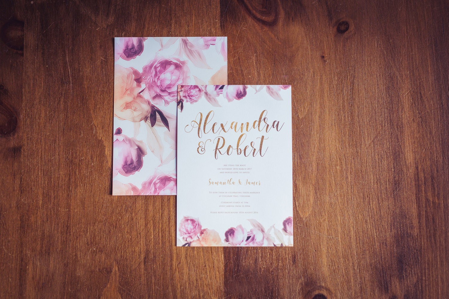 Dreamy Florals Wedding Invitation  Pink Blush Coral Cream Flowers  Bronze Font on Invitation  Simple Elegant Invitation Set