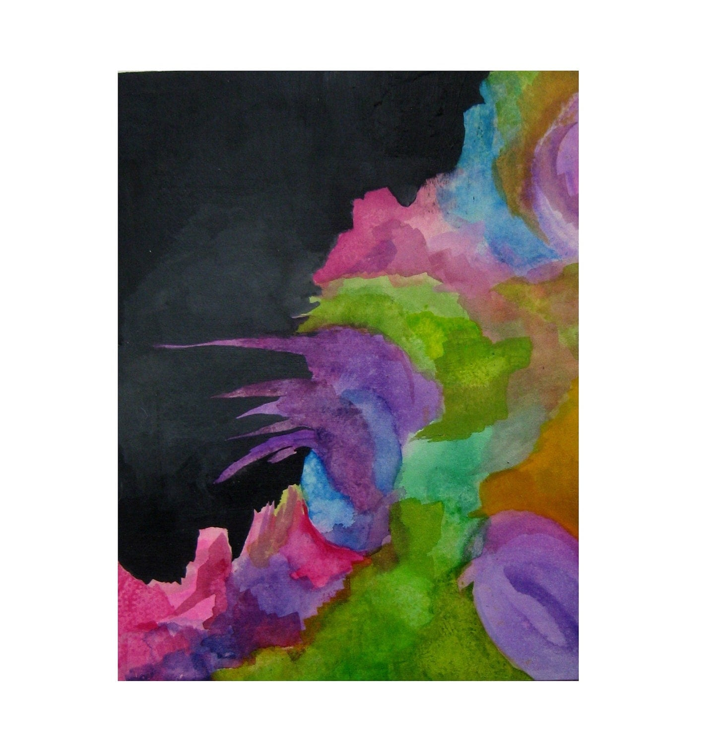 Original Acrylic Painting on Wood Panel Eco Friendly Abstract Nature Inspired Spring Art Decor Black Gray Pink Magenta Purple Green Yellow - MusicalColorStudio