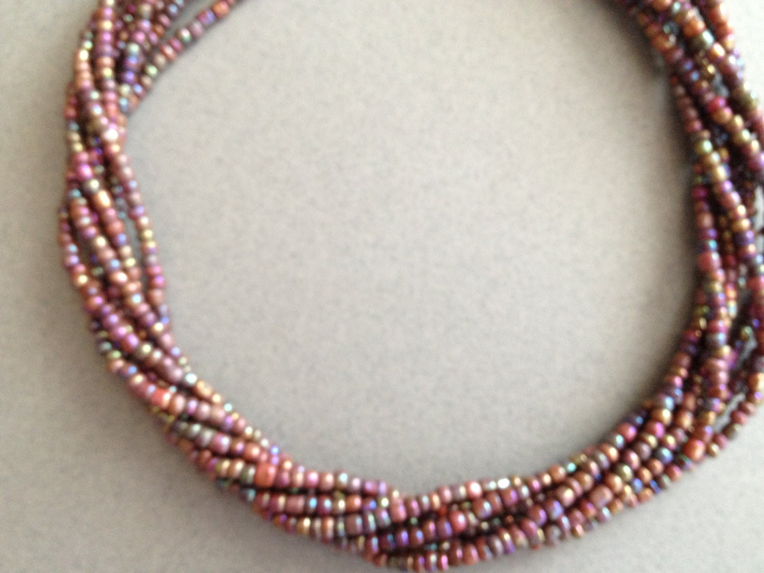 7 Strand Seed Bead Necklace - Copper Brown seed bead necklace