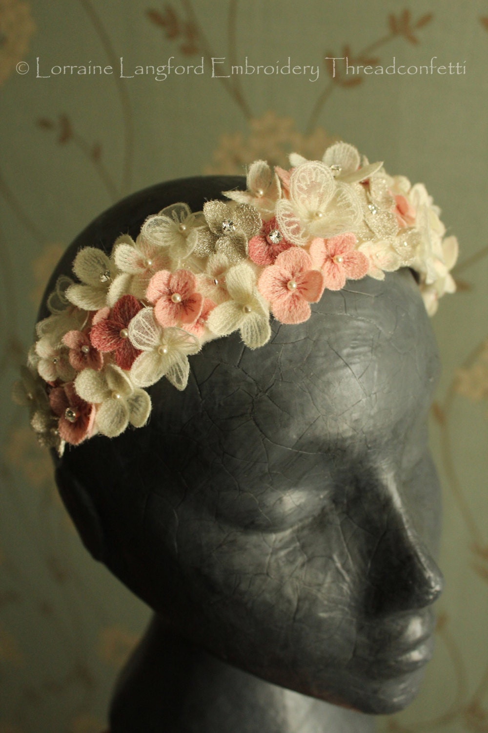 Vintage StyleBoho Style Bridal Floral Headdress Tiara Fascinator Adornment pink and silver embroidery threadconfetti flower blossoms