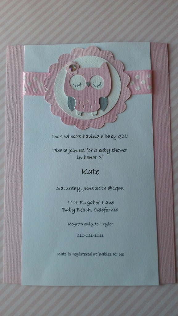 owl theme baby shower invitation by sweetbugaboo on etsy