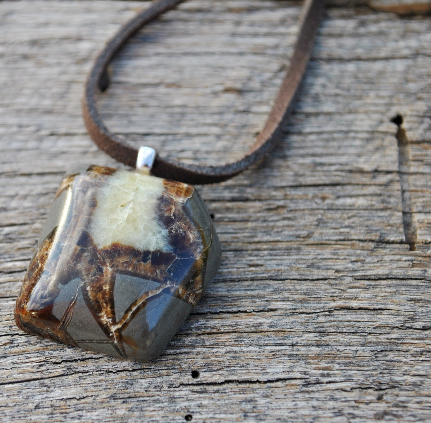 Men's Utah Septarian Nodule Pendant on a brown leather cord necklace chain simple, minimalist - Beechtree