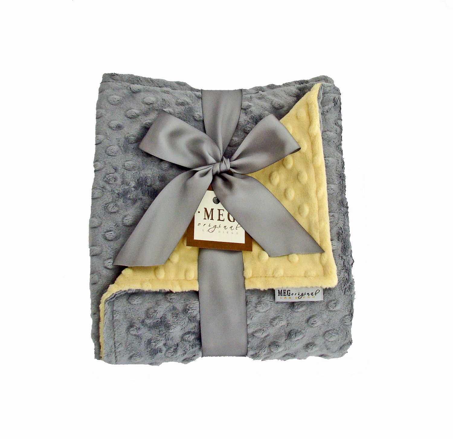 Yellow & Gray Minky Dot Baby Blanket - MEGbabyboutique
