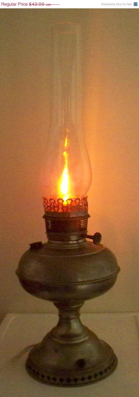 cyber sale antique rayo oil hurricane lamp conversion aluminum or. Black Bedroom Furniture Sets. Home Design Ideas
