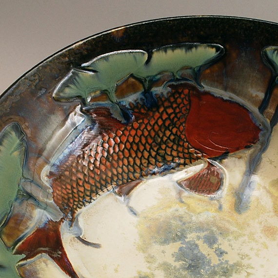 Carved koi fish bowl on white crystalline by doorpottery for Koi fish bowl