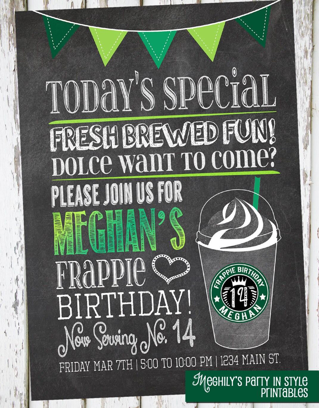 Free Birthday Starbucks ~ Starbucks inspired invitation by meghily s catch my party