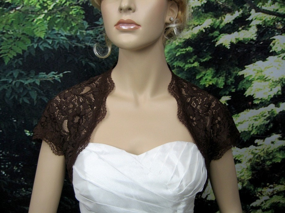 Brown cap sleeve bridal lace wedding bolero jacket