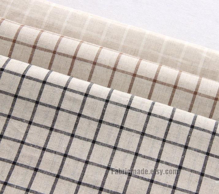Chic Blue Beige Cotton Linen Plaid Curtains For Boys Bedroom: Plaid Fabric Linen Cotton White Brown Blue Plaid On By