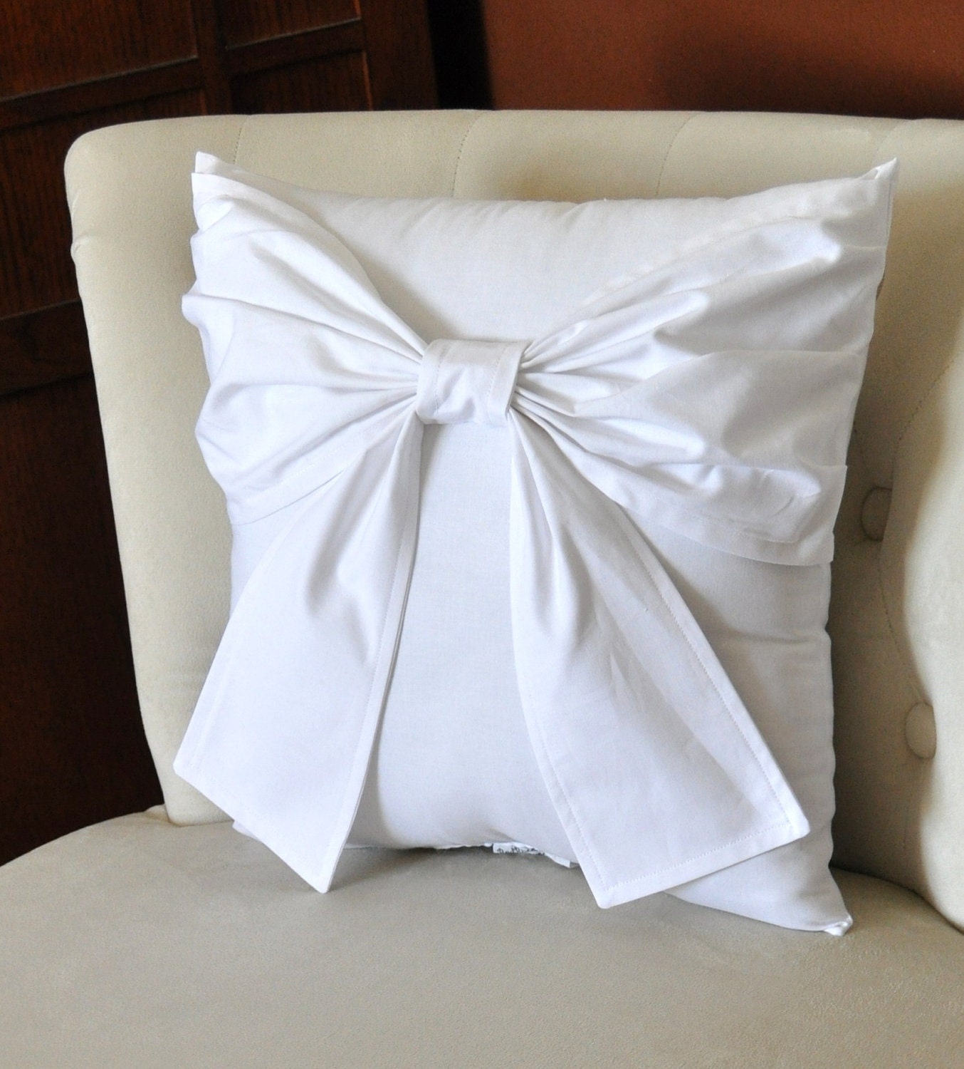 Large White Throw Pillow : Throw Pillow White Big Bow Accent Pillow 14x14 by bedbuggs on Etsy