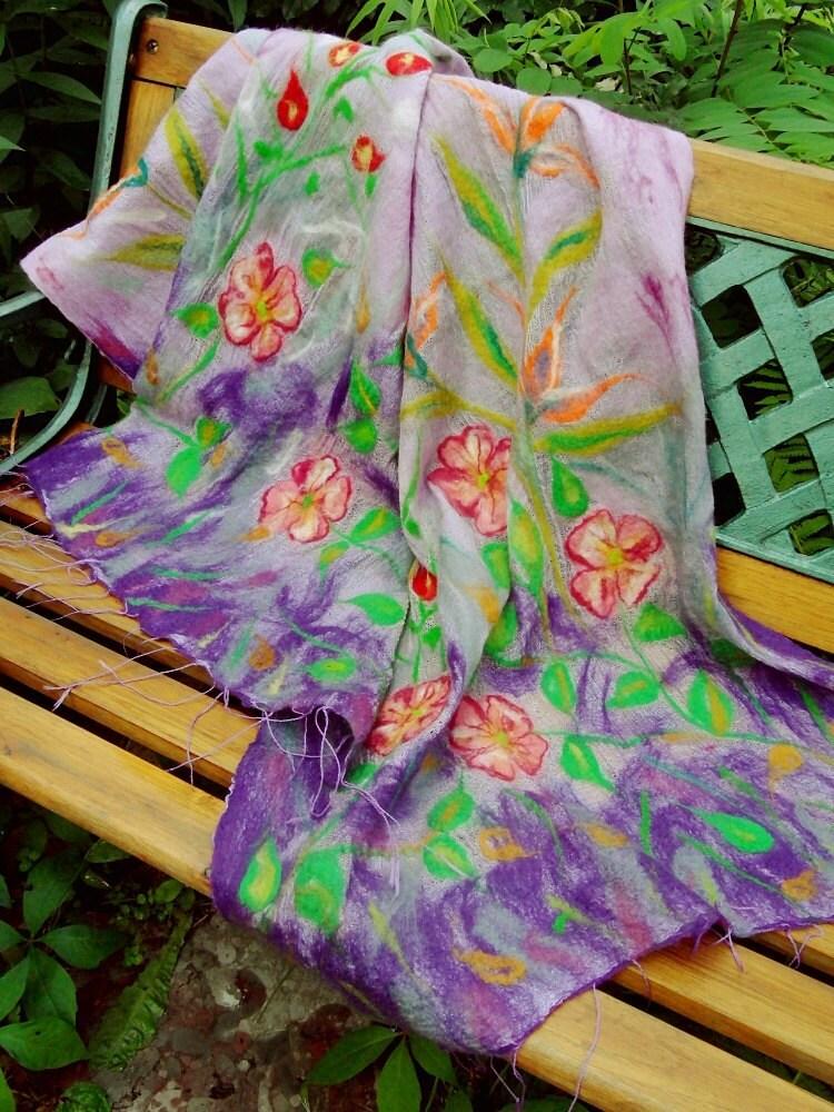 Nuno Felt Felted Scarf Shawl Silk Merino Wool Spring Floral Summer Flowers Boho Unique Easter Gift  OOAK - filcAlki