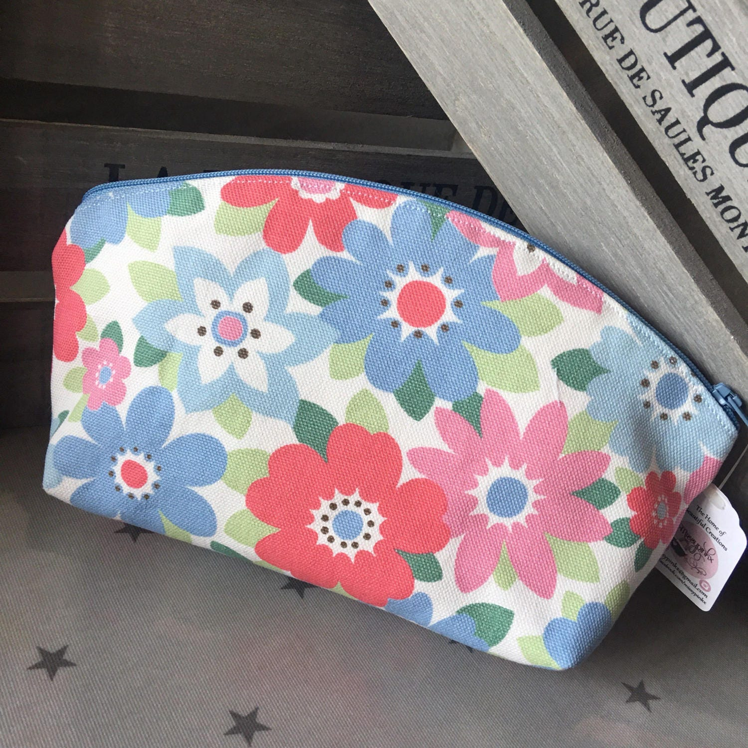 Make up bag made in Cath Kidston Blue Floral fabric