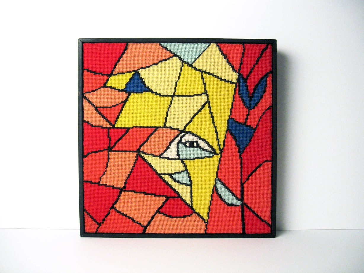 Mid-Century Danish Modern Textile Wall Art / Framed Tapestry Abstract Wall Hanging - ObjectOfBeauty