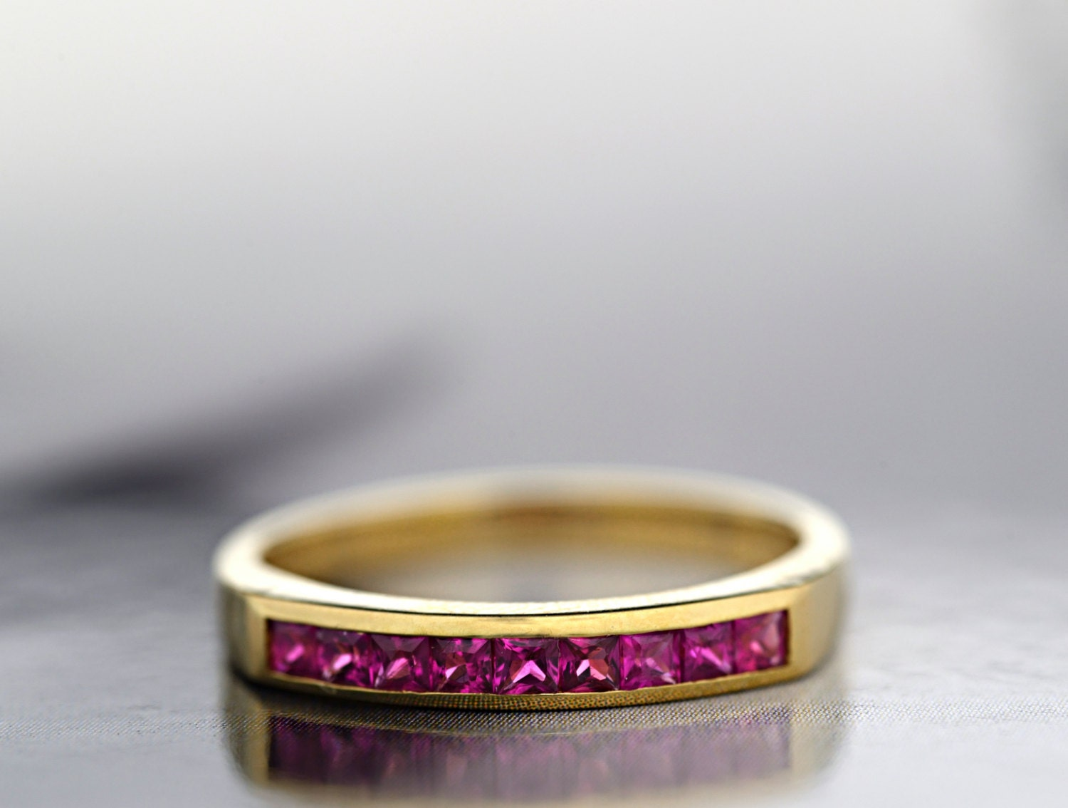 18ct Yellow Gold Ruby Half Eternity Ring  Eternity Wedding Ring  Anniversary Ring  Ready to Ship  FREE SHIPPING