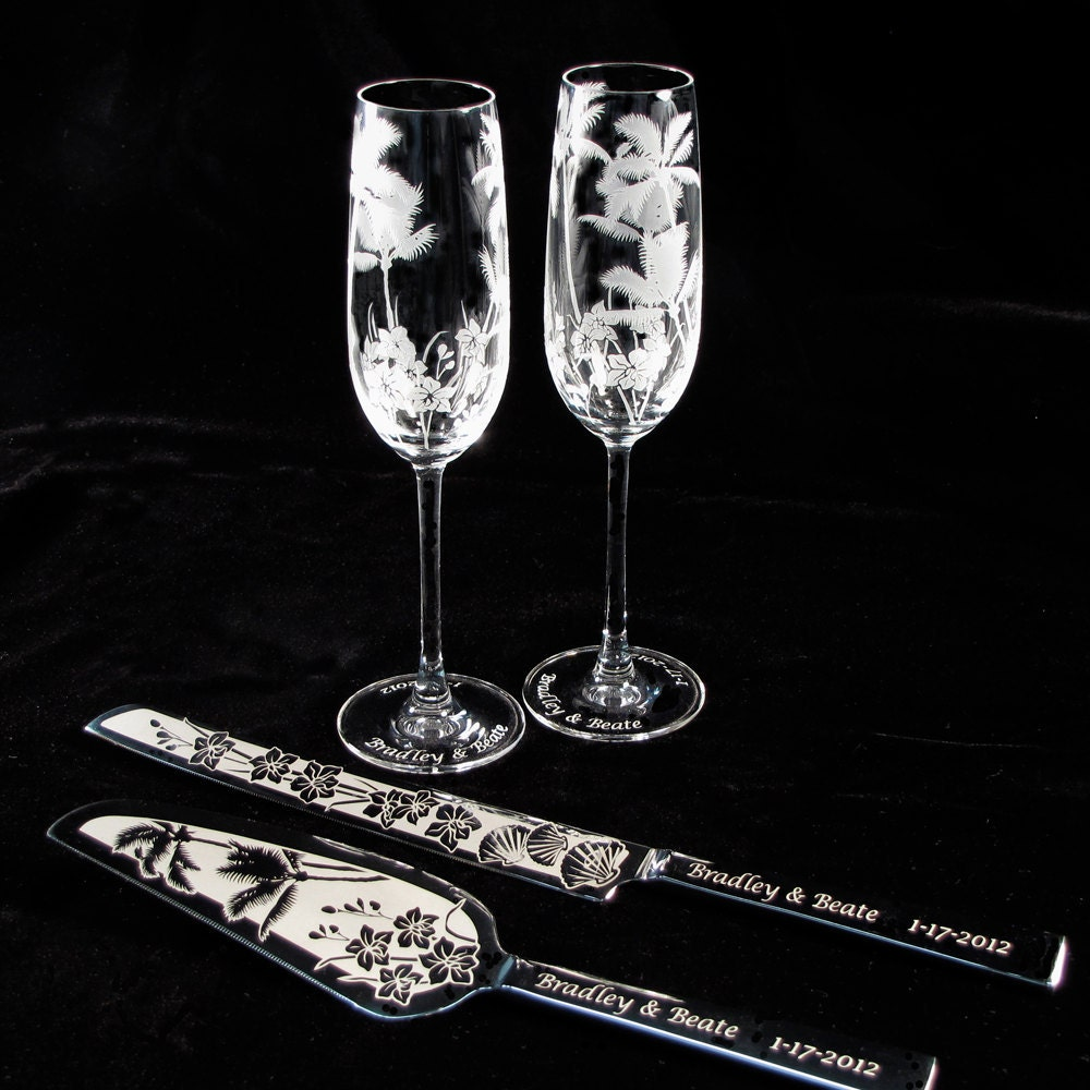Personalized Wedding Cake Server And Knife Champagne Flutes Tropical