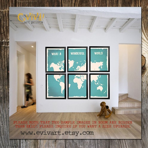 11x14 What a Wonderful World Map Print - Six 11x14 inches Prints in Color Sky turquoise - evivart