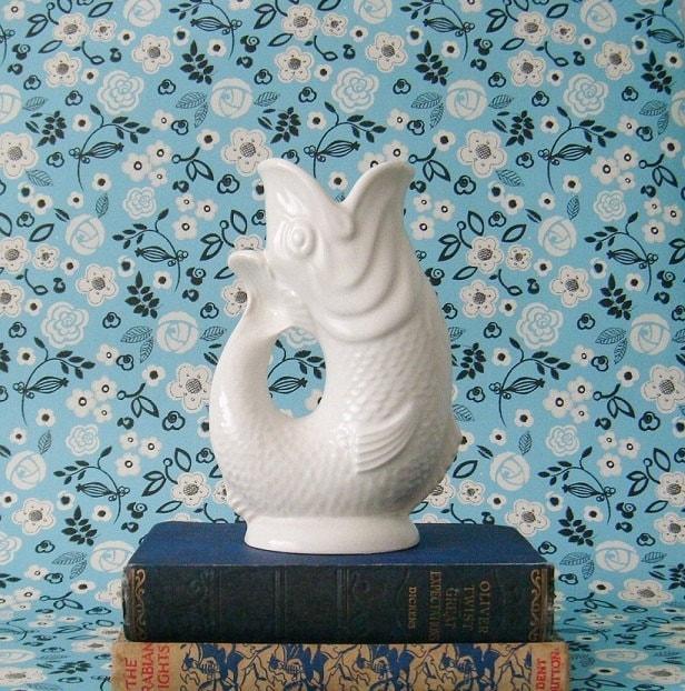 Vintage white gurgling koi fish vase by roseandwatervintage for Koi fish vase