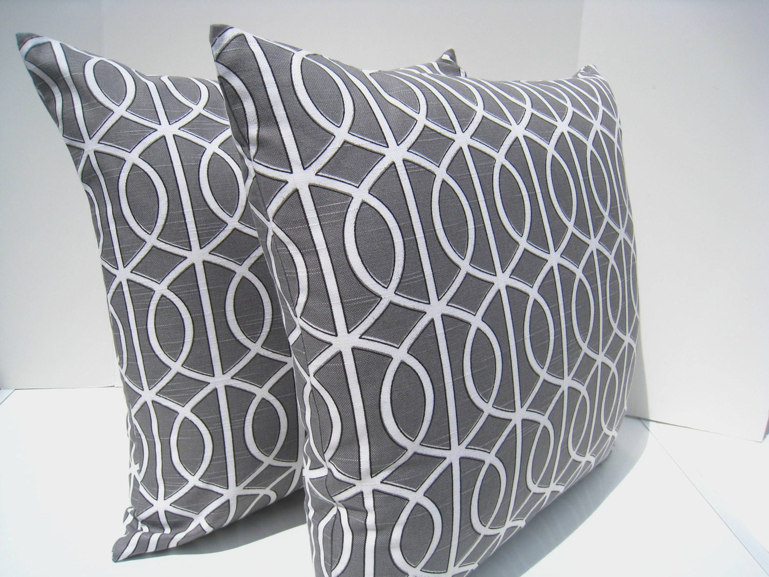 Grey pillow cover, geometric pillow, contemporary pillow, Dwell studio bella porte, charcoal