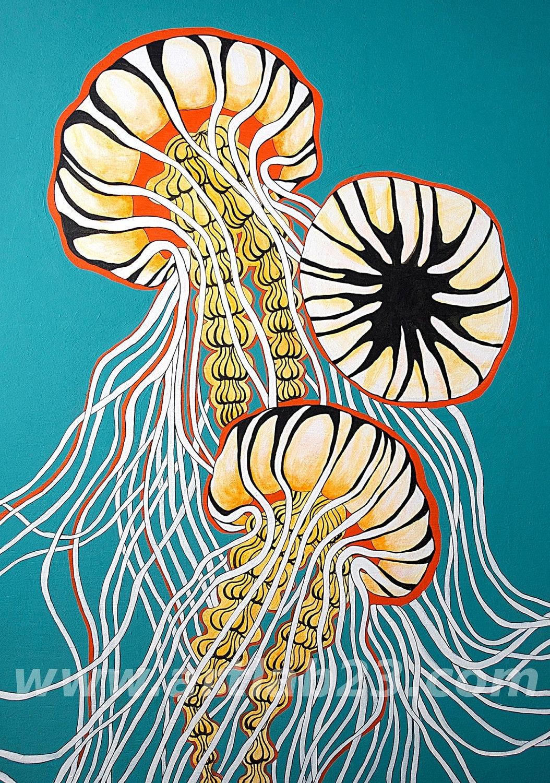 Jellyfish Art Print Of Original Painting 4x6 Ocean By Artlab23