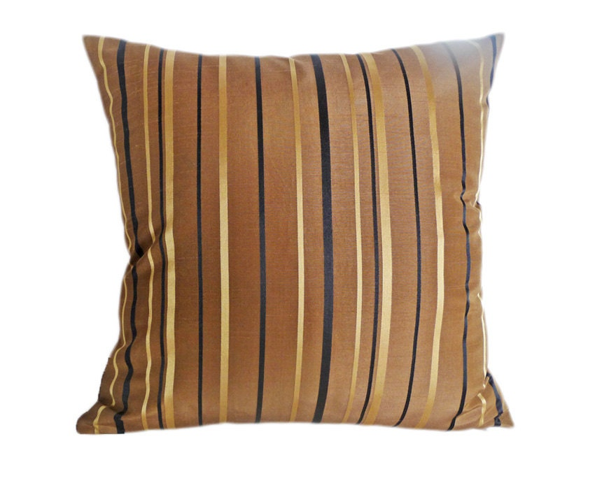 Gold Stripe Decorative Pillow : Brown Decorative Pillow Gold Black Stripes by PillowThrowDecor