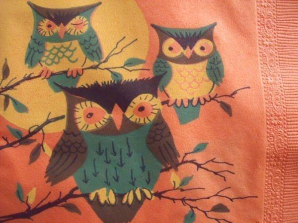 2 Vintage Halloween Owl Paper Napkins