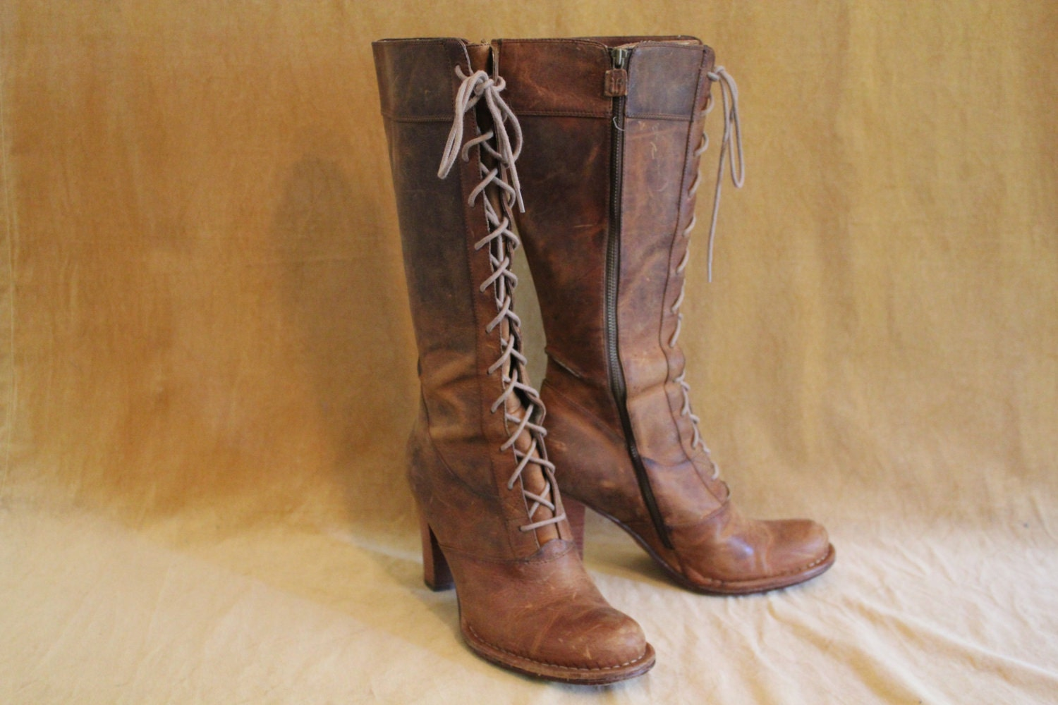 frye high heel lace up boots size 10 by californiasister