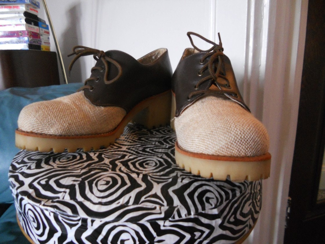 Wild Pair Tweed Oxford Platform Shoes Size 8 9