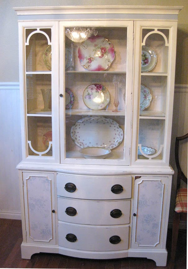 items similar to shabby french country chic antique china cabinet hutch with vintage toile. Black Bedroom Furniture Sets. Home Design Ideas
