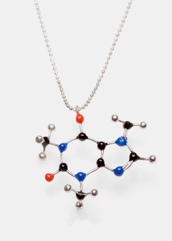 caffeine molecule necklace c8h10n4o2 by slashpiledesigns