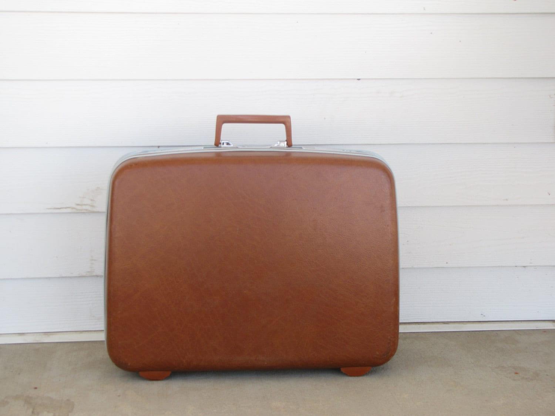 Vintage Rust Orange Brown Medium Samsonite Suitcase / Luggage - BertasAccessories