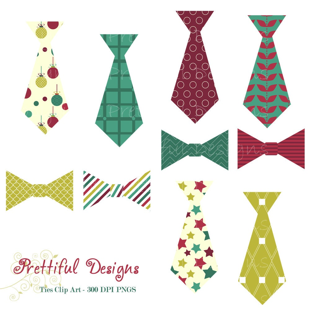 Christmas Tie and Bow Tie Clip Art - Personal or Commercial Use - Deck