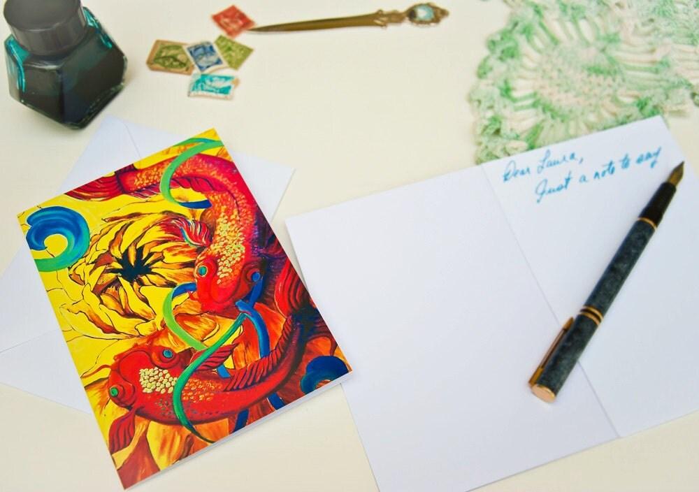 Items similar to pisces gift koi fish art print blank for Koi fish gifts