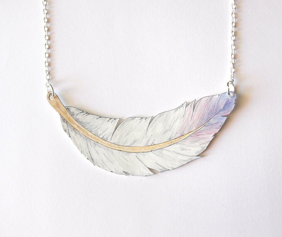 Hand Drawn Feather Necklace - Made To Order - rareindeed