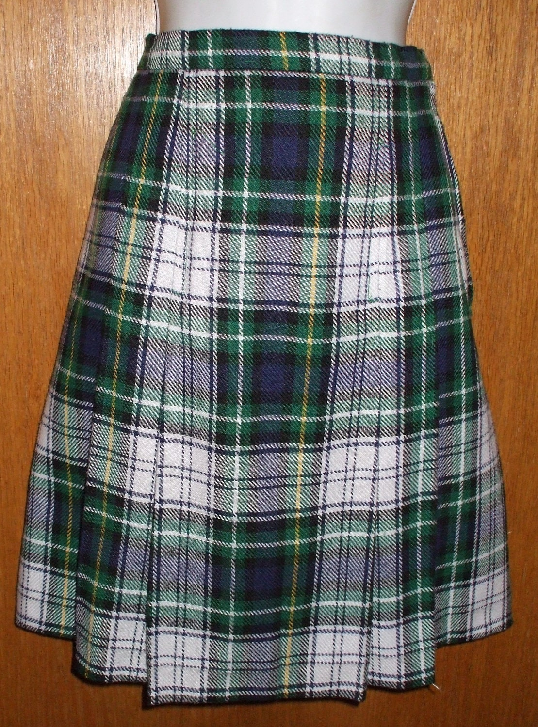 sale pleated skirt kilt blue and green plaid by