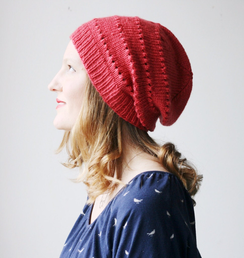 Slouchy beanie, red coral valentines merino wool knit hat -- Ledge Harbour slouch - darnitalltoheck