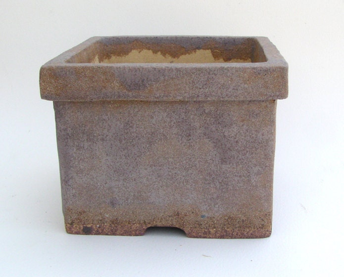 Square Bonsai Pot with Gray and Tan Glaze