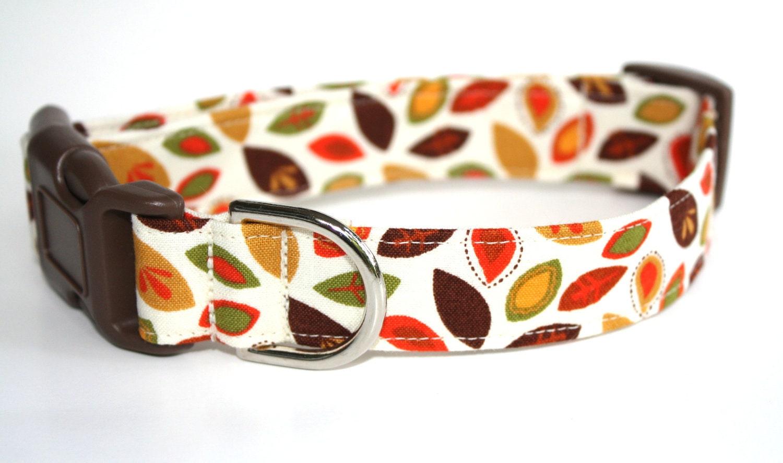 Autumn Dog Collar - Autumn Leaves - fall dog collar, autumn leaves dog collar - CreatureCollars