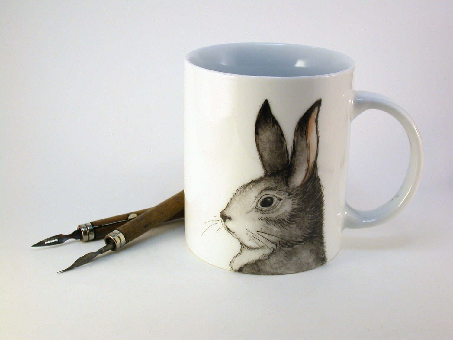grey rabbit mug, handpainted porcelain cup easter rabbit march hare - madrab