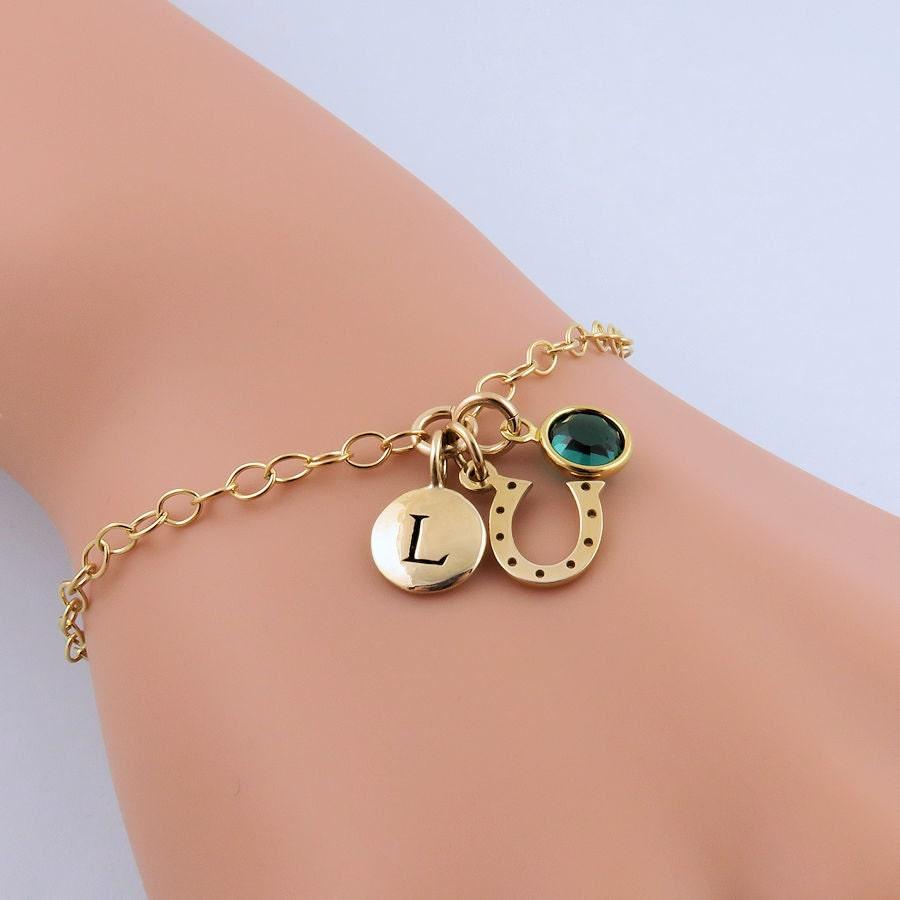 Gold Horseshoe Bracelet Lucky Horseshoe Equestrian Bracelet Tiny Horseshoe Charm Bracelet Personalized Horseshoe Initial Bracelet
