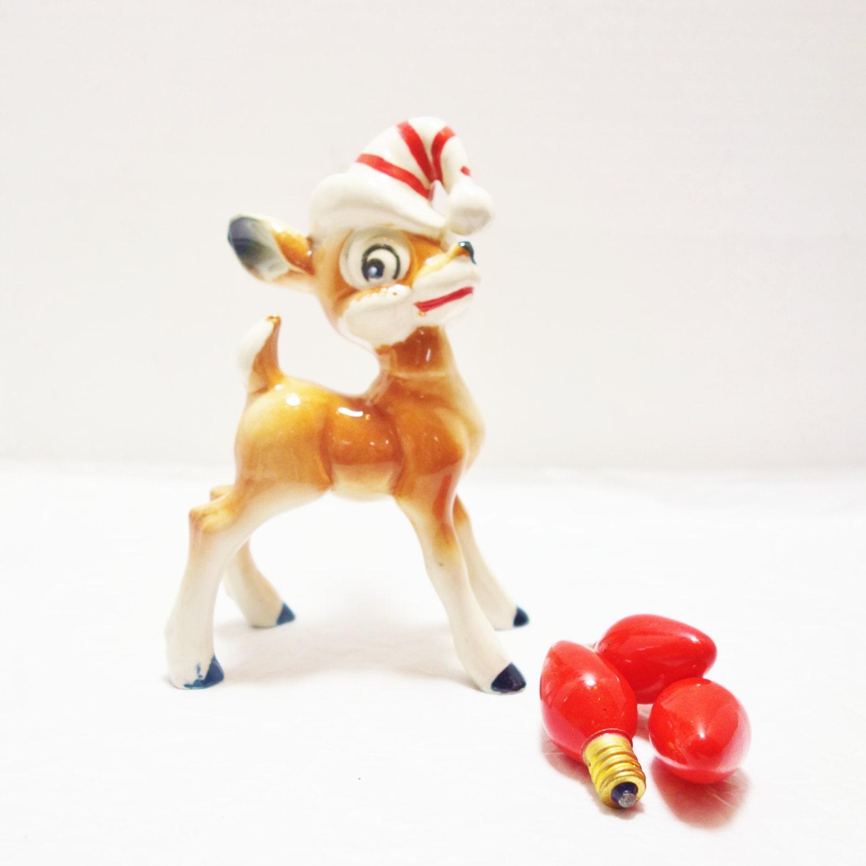 Vintage Ceramic Christmas Deer, Cheeky Reindeer, Reindeer in santa hat, 1950s christmas figurine, Reindeer figurine, Mid Century Christmas - ZomaleeVintage