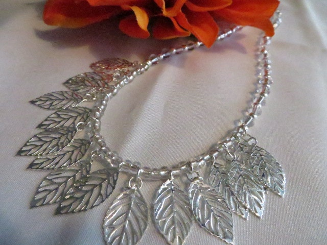 CHRISTMAS in JULY SALE Silver Jewelry Bib Necklace Silver Leaves Crystals - RitzyandGlitzy