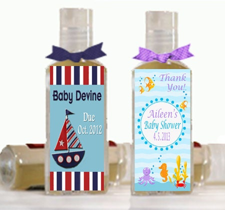 Items Similar To Nautical Theme Personalized Hand Sanitizer Shower Favors